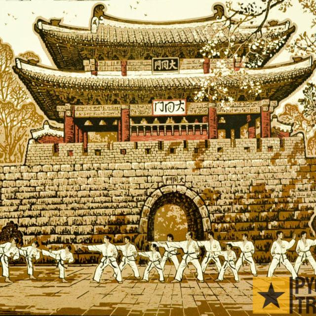 nordkorea-kunstwerk-taekwondo-kaempfer