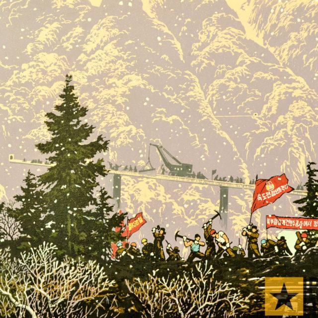 Nordkorea Kunstwerk Waldarbeiter